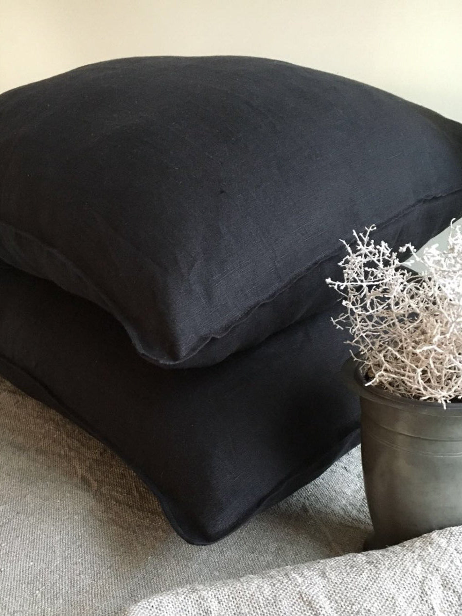 Black Pillowcases, Set of Two Black Linen Pillowcases-Linenbee
