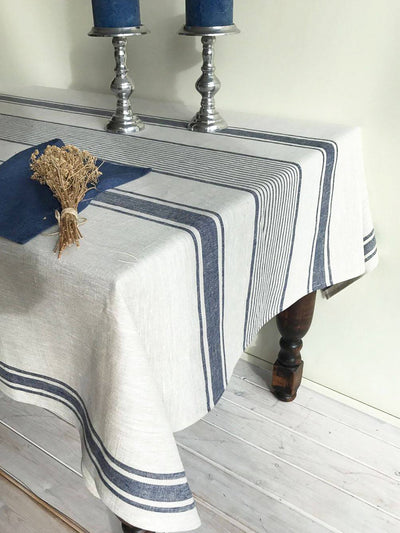 Linen tablecloth, French country dark blue striped table cloth-Linenbee