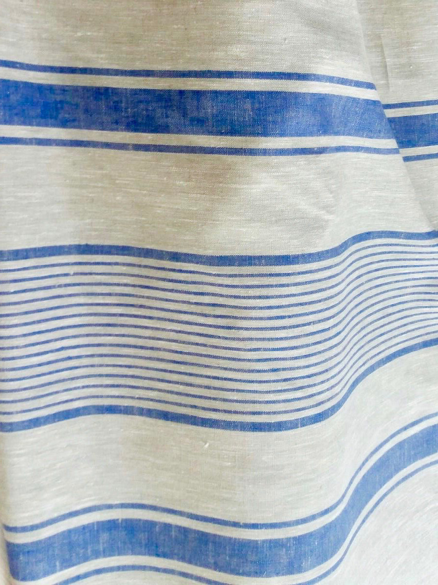 Linen tablecloth, French country bright blue striped table cloth-Linenbee