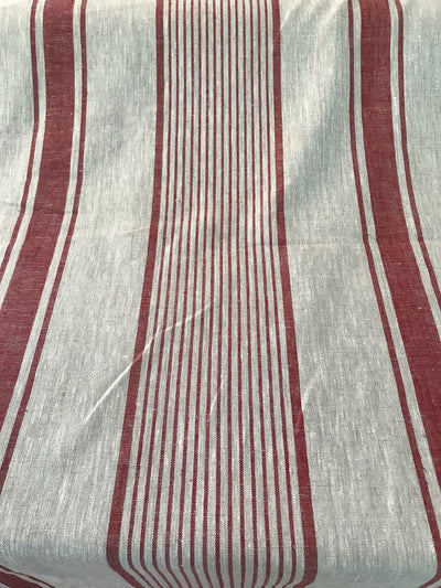 Cherry Red Linen tablecloth, French country striped table cloth-Linenbee