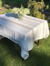 White tablecloth, French country white and beige striped table cloth-Linenbee