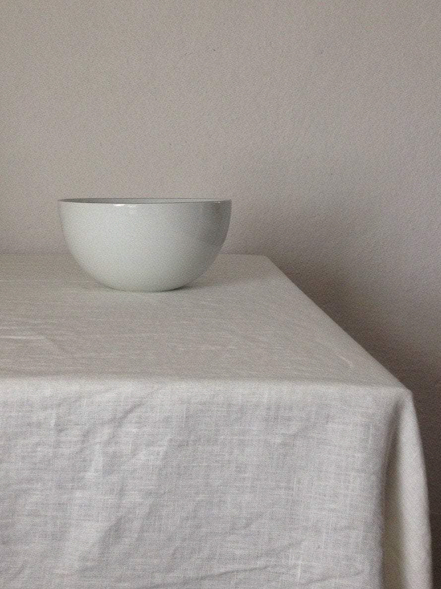 White Linen Tablecloth, Stonewashed European Linen-Linenbee
