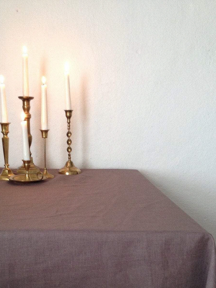 Brown Linen tablecloth, brown tablecloth-Linenbee