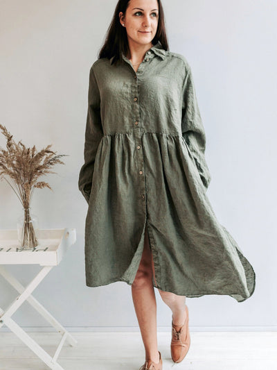 Linen Smock 'Lisa' with Long Sleeves, Button Up Dress-Linenbee