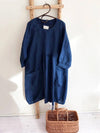 Dark Blue Linen Dress, Linen Tunic Dress-Linenbee