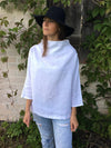 Linen Tunic with raised neck, Loose Linen Shirt-Linenbee