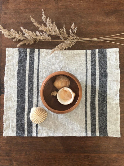 French Striped Linen placemats, set of 6 linen placemats-Linenbee