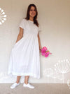 White Linen Dress with Sleeves and Pockets-Linenbee