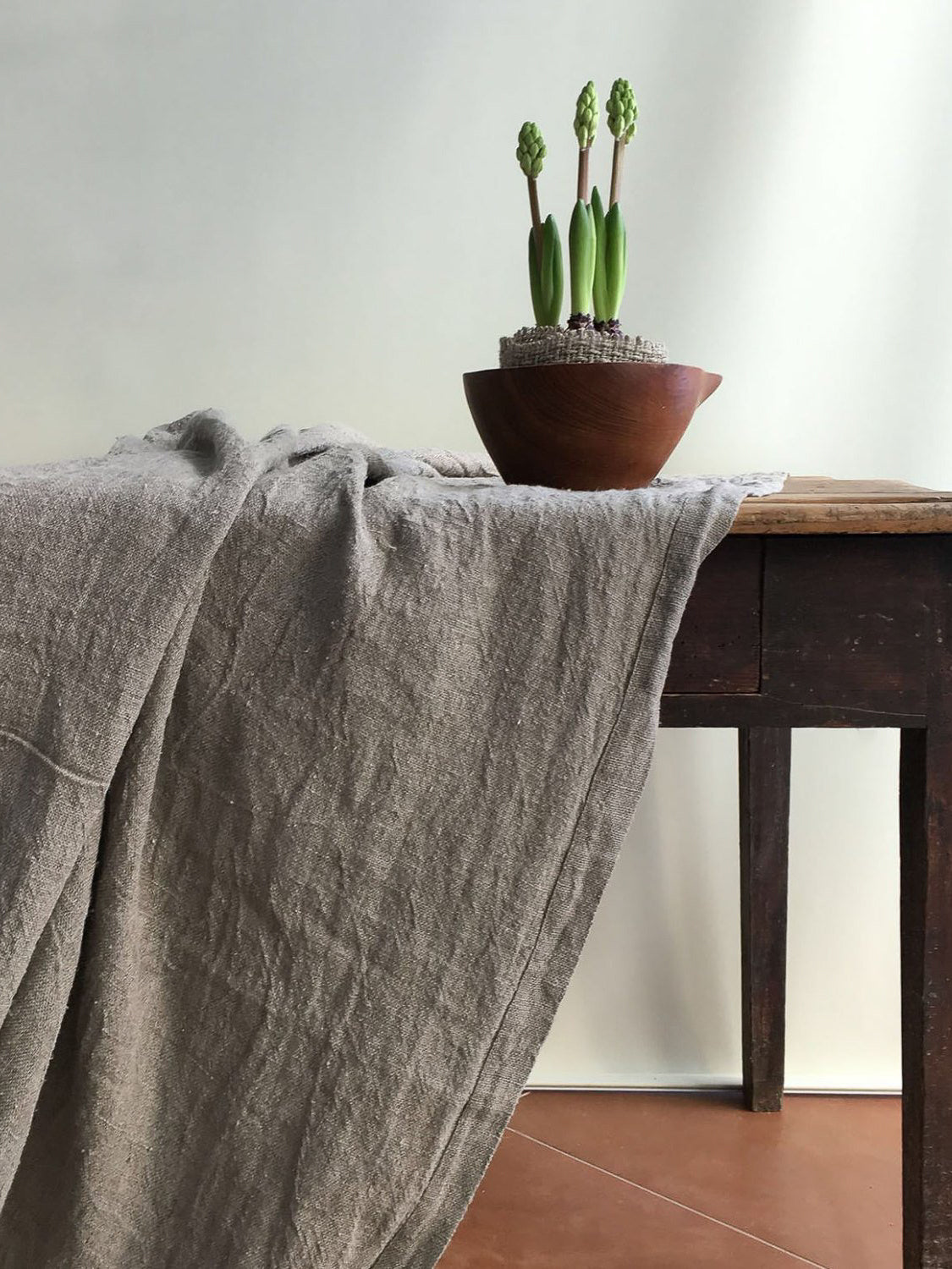 Rustic Linen Tablecloth, Thick large rectangle tablecloth-Linenbee
