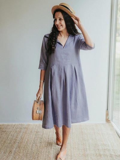 Linen Midi Dress 'Beckie', Loose Linen Dress for Women