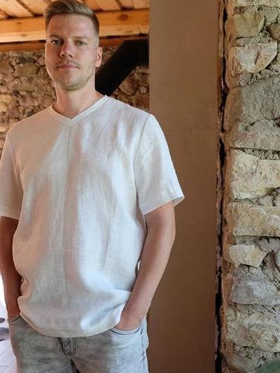 Mens Linen T-Shirt with Short Sleeves, Linen V-Neck shirt