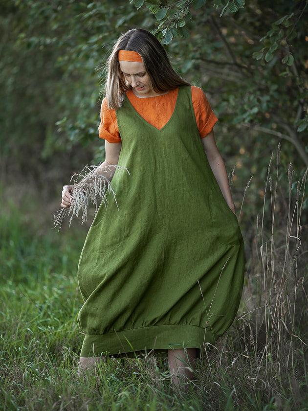 Linen Pinafore Dress 'Mary Lou', Smock Dress Linen
