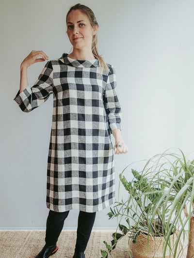 Linen Tunic Dress with Raised Collar 'Jackie'