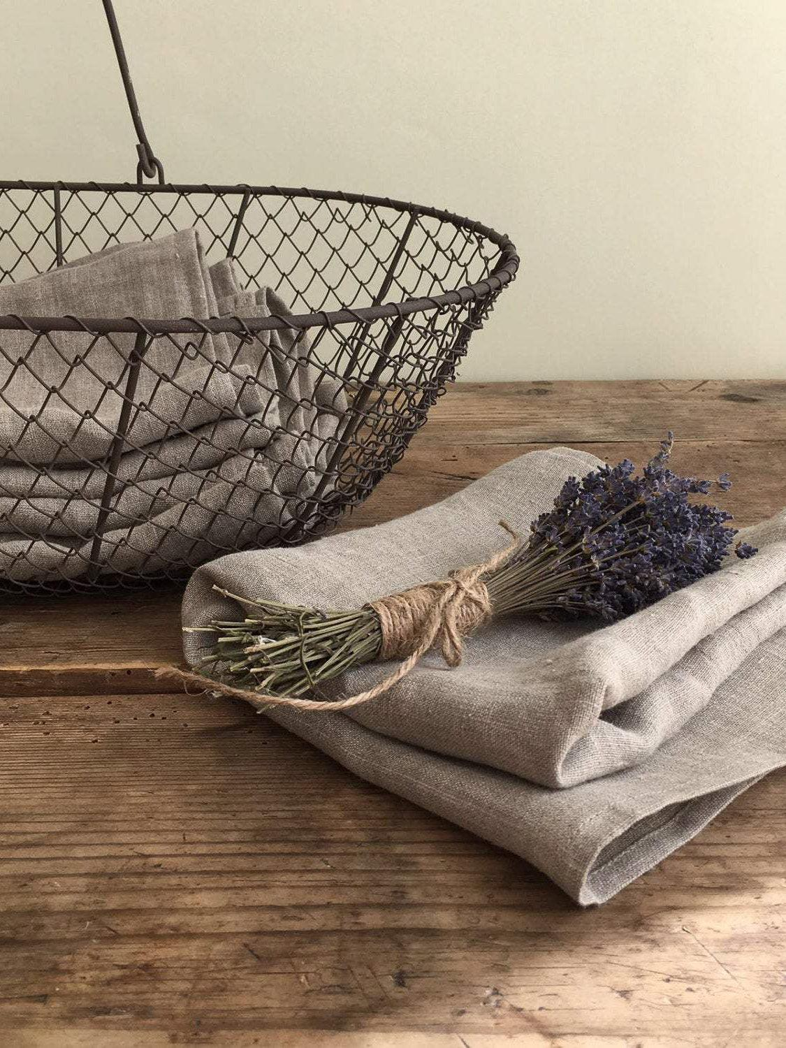 Set of four Linen Towels, Natural Towels-Linenbee