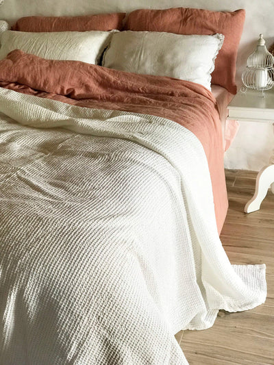 White Blanket, Linen and Cotton blend blanket-Linenbee