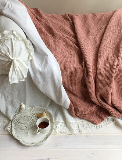 Voluminous Blanket, Linen and Cotton blend blanket-Linenbee