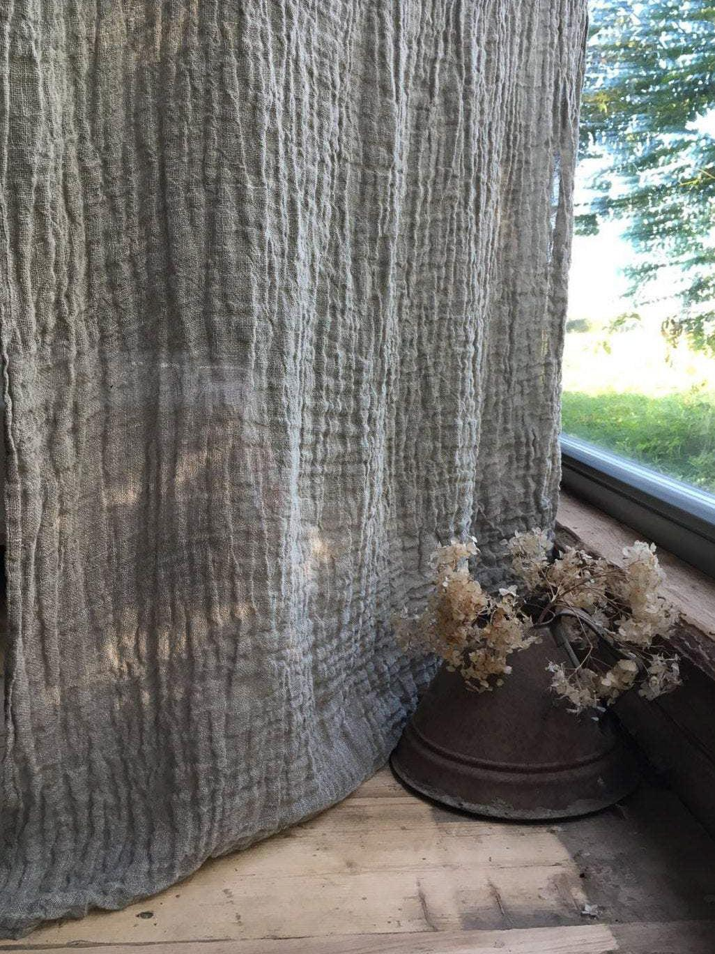 Linen Curtain Panel, Window Curtains-Linenbee