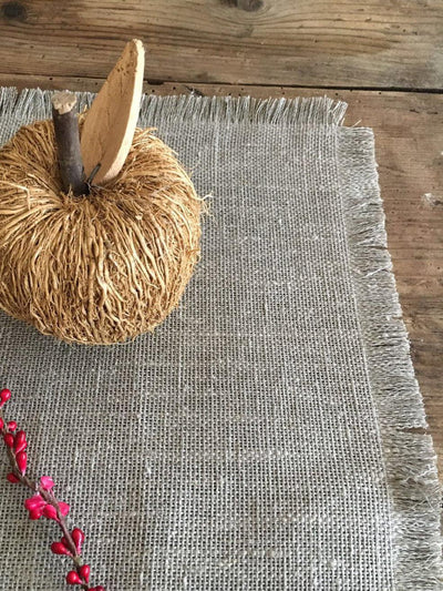 Burlap Placemats with Frayed Edges, set of linen placemats. Natural Placemats-Linenbee