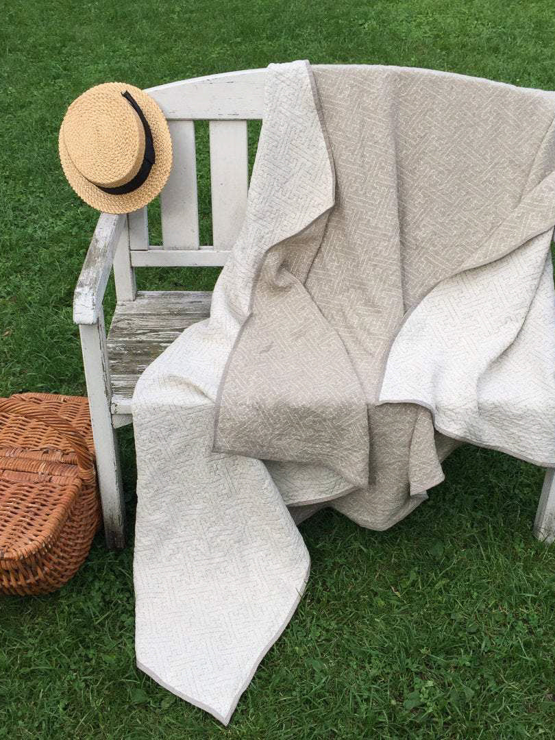 Linen Blanket, Two sided Linen Throw-Linenbee