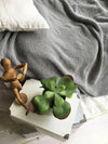 Thick Grey Blanket, Linen and Cotton blend blanket-Linenbee