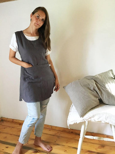 Light Pinafore Apron Dress, Linen Smock-Linenbee