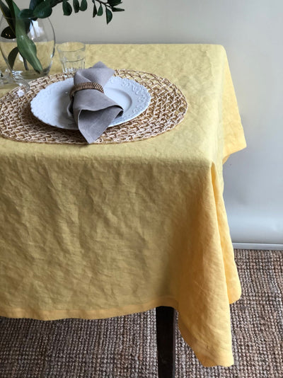 Yellow Linen tablecloth, Custom Sized Tablecloth