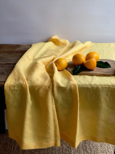 Linen tablecloths in various colors, Custom Sized Tablecloth