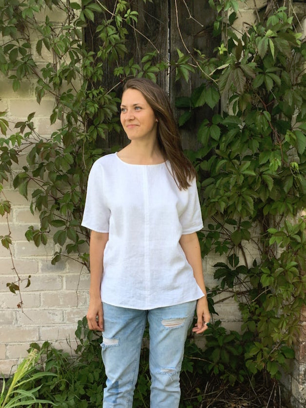 Ready to Ship: White Linen Shirt, Size L