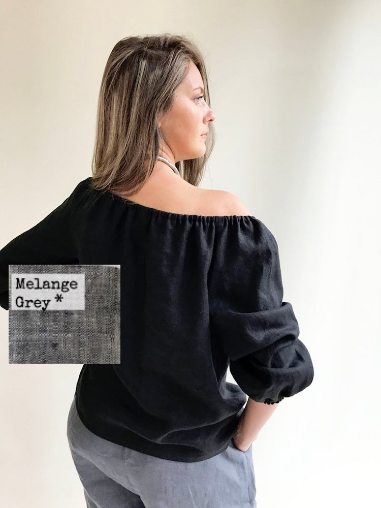 Ready to Ship: Melange Grey Off the shoulder Top, Size XL