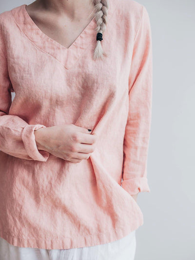 Pink Linen Tunic Top with Long Sleeves, V Neck Top-Linenbee