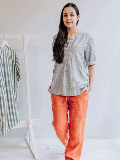 Linen Shirt for Women, Striped Linen Shirt-Linenbee