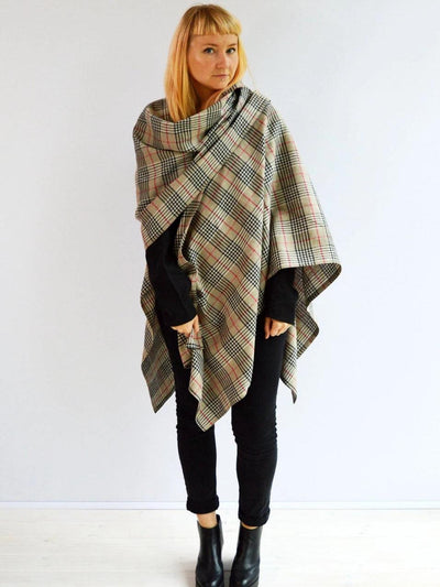 Ruana Wrap from Linen, Plaid Cape-Linenbee