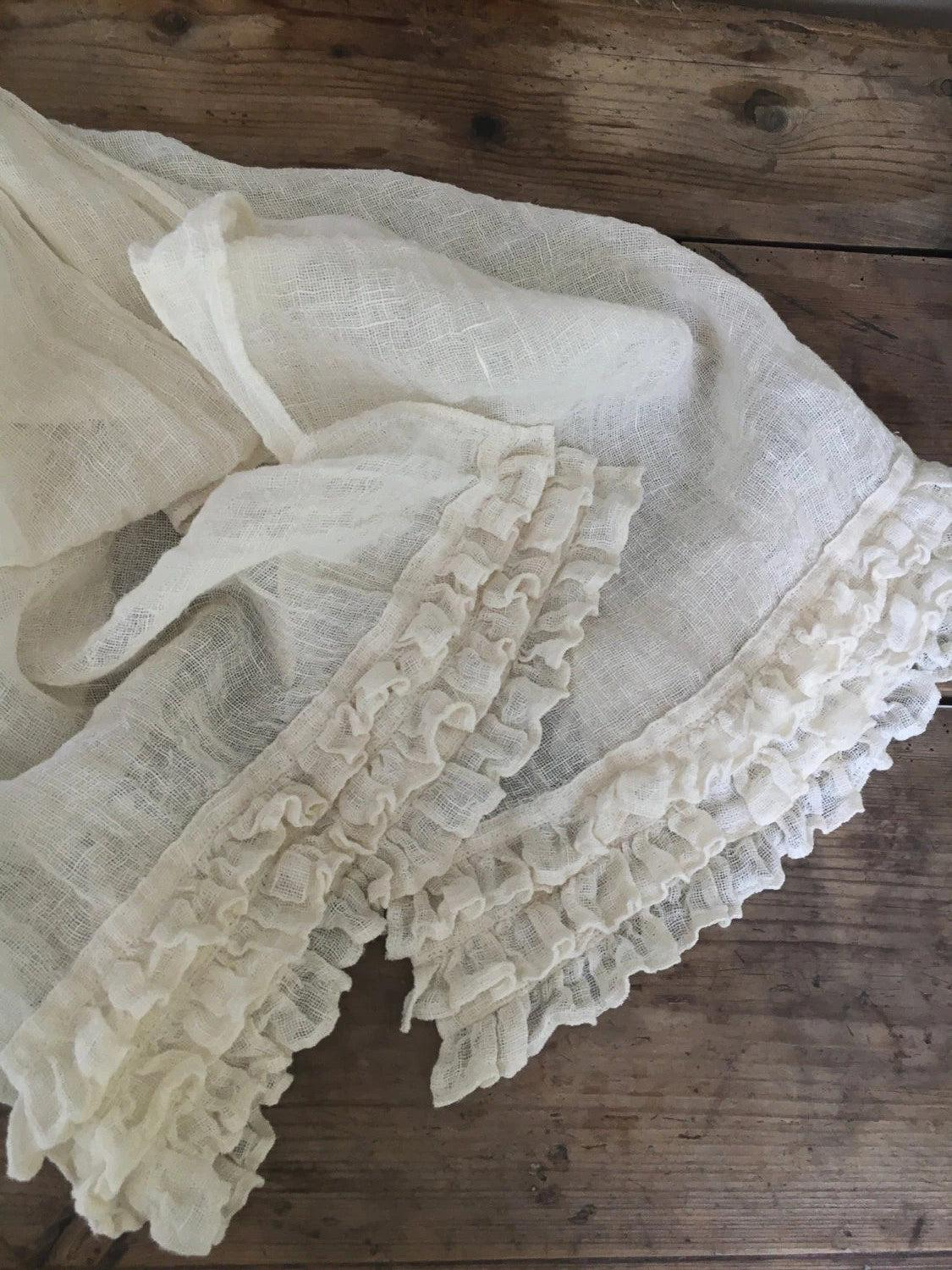 White Scarf, Linen Scarf With Ruffle-Linenbee