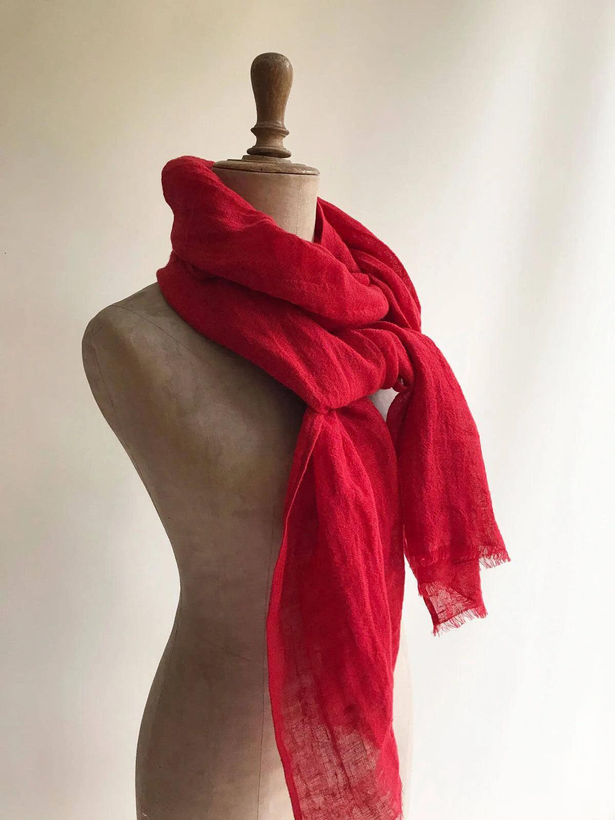 Red Linen Scarf, Eco friendly Scarf-Linenbee