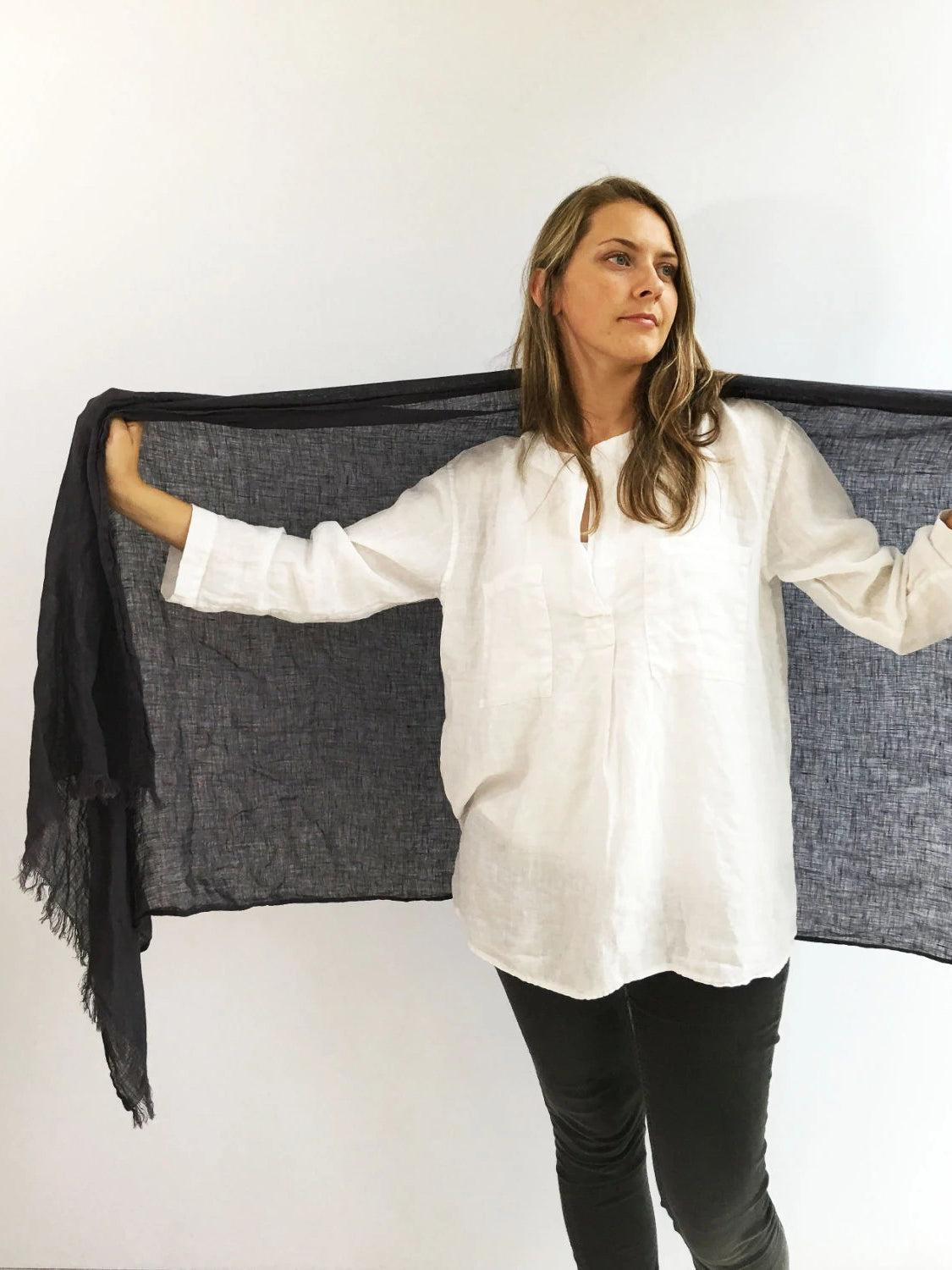 Dark Grey Oversized Scarf, Linen Shawl-Linenbee