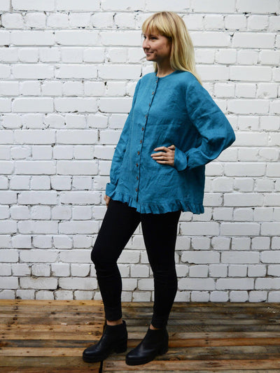 Linen Button up blouse with Ruffle, Loose Linen Jacket women-Linenbee