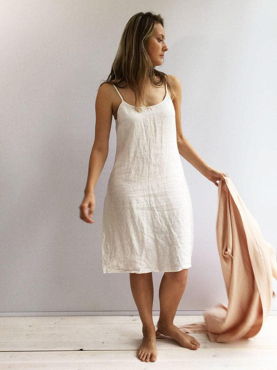 Slip Dress, Linen Slip Dress-Linenbee
