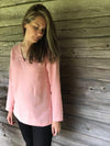 Linen Tunic Top with Long Sleeves, V Neck Top-Linenbee