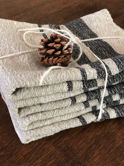 Set of Four Durable Linen tea towels, French kitchen towels