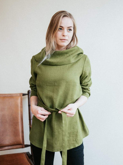 Linen Tunic with Raised Neck 'Charlotte'