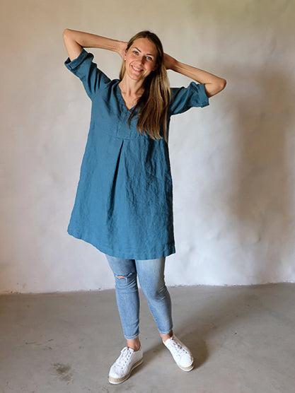 Plus size Linen tunic 'Yvette' in Sea Green-Linenbee