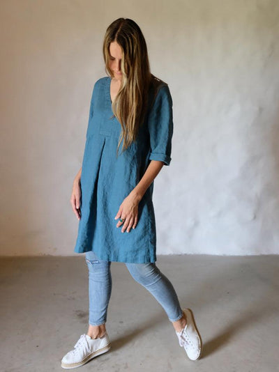 Plus size Linen tunic 'Yvette' in Sea Green