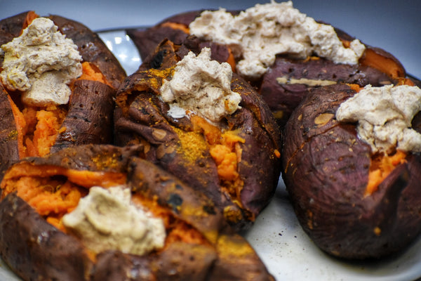 Smoked Sweet Potatoes With Cinnamon Maple Butter
