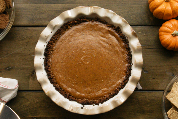 Grilled Pumpkin Pie with Smoked Gingersnap Crust
