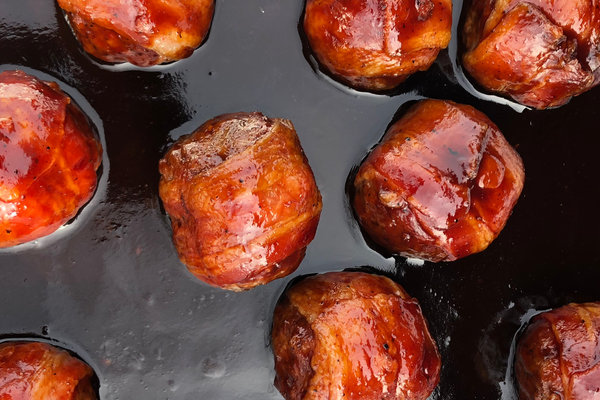Saucin' Bacon Wrapped Cheesy Meatballs