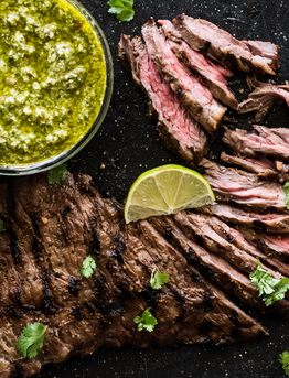 Grilled Juicy Skirt Steak with Cilantro Pesto