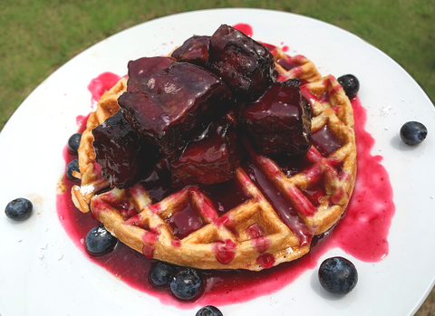 Blueberry Burnt Ends with Waffles