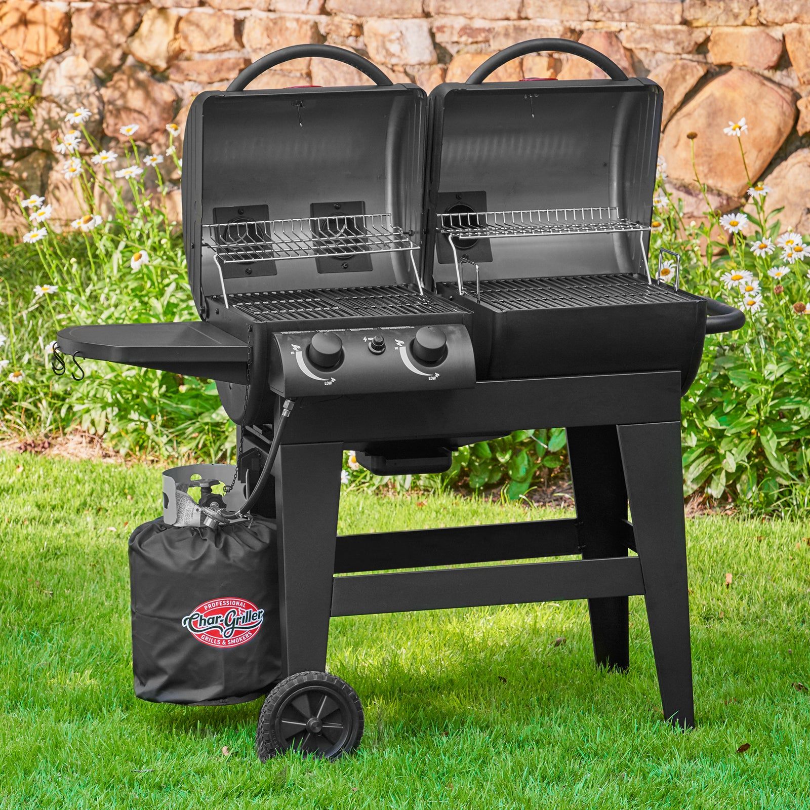 Dual Function 2-Burner Gas & Charcoal Grill