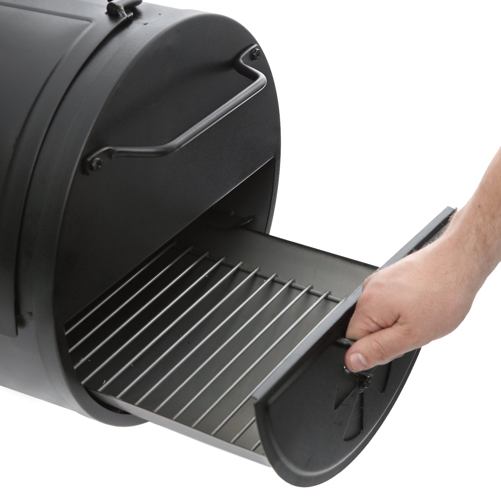 Side Fire Box/Table Top Charcoal Grill, Metal Handle
