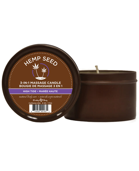 Earthly Body Suntouched Hemp Candle - 6.8 oz Round Tin High Tide